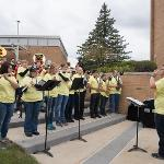 PRESIDENT DAVID EISLER JOINED THE FERRIS PEP BAND DURING THE CELEBRATION.