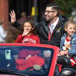 COACH ANDY BRONKEMA AND THE BULLDOGS' 2018 NCAA II NATIONAL CHAMPIONSHIP MEN'S BASKETBALL TEAM SERVED AS PARADE GRAND MARSHALS.