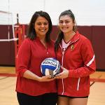 JUNIOR ALLYSON CAPPEL WAS HONORED BY COACH TIA BRANDEL-WILHELM FOR RECORDING HER 1,000th CAREER KILL.