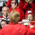 PRESIDENT DAVID EISLER JOINED THE BULLDOG PEP BAND DURING THE HOCKEY FESTIVITIES.