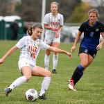 THE NATIONALLY 12th RANKED WOMEN'S SOCCER TEAM PUSHED TOP RANKED GRAND VALLEY TO THE LIMIT BEFORE FALLING 2-1 IN DOUBLE OVERTIME.