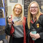 STUDENTS RECEIVED FREE MUGS FILLED WITH TEA, HOT CHOCOLATE OR BUTTERSCOTCH BEVERAGES.