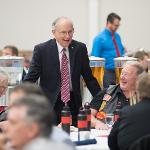 PRESIDENT EISLER VISITS WITH GUESTS AT THE VETERANS DAY BREAKFAST.