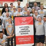 AREA 5 ATHLETES JOINED WITH FERRIS STUDENTS AND STAFF TO CELEBRATE FSU'S NEWLY CERTIFIED STATUS AS A SPECIAL OLYMPICS UNIVERSITY.