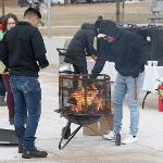 SPRING WELCOME ACTIVITIES CONTINUED AT MID-WEEK WITH A BONFIRE AND FREE HOT COCOA IN THE QUAD.