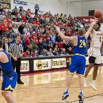 IN THE MEN'S GAME, FERRIS JUMPED OUT TO A QUICK LEAD AND ROLLED TO A 97-76 WIN.