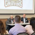 REPRESENTATIVES FROM THE GRAND RAPIDS GRIFFINS HOCKEY TEAM SHARED THEIR PROFESSIONAL EXPERTISE WITH STUDENTS.