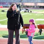 JEANINE WARD-ROOF, VP FOR STUDENT AFFAIRS, WELCOMES THE VOLUNTEERS AT TOP TAGGART FIELD.