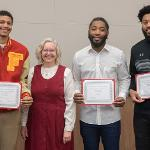 THE ACADEMIC SENATE AND ITS PRESIDENT, SANDY ALSPACH, RECOGNIZED THE ALL-CONFERENCE MEMBERS OF THE FSU BASKETBALL TEAM.