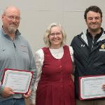 THE SENATE AWARDED CERTIFICATES OF ACHIEVEMENT TO ASSISTANT TRACK COACH LARRY LEVINE (L) AND HEAD COACH JARED KELSH.