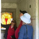 MEMBERS OF THE HISTORY TASK FORCE GREETED VISITORS TO THE MAUSOLEUM.