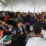 "HUNDREDS OF STUDENTS ATTENDED ""BULLDOG BONANZA"" IN THE UNIVERSITY CENTER AND UNDER THE TENT IN THE CAMPUS QUAD."