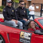 COLLEGE OF BUSINESS AND FOOTBALL ALUMNI JEFF AND BRIAN CARMODY SERVED AS HOMECOMING GRAND MARSHALS.