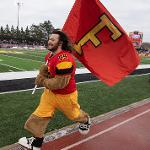 GRANT KLAIRTER, A COLLEGE OF PHARMACY STUDENT FROM GRANDVILLE, TAKES HIS FINAL LAP AS BRUTUS.