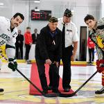 BULLDOG HOCKEY HONORED U.S. SERVICE VETERANS DURING THEIR WCHA SERIES AGAINST BEMIDJI.