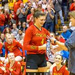 """ALLYSON CAPPEL, THE 3-TIME GLIAC """"PLAYER OF THE YEAR"""" IS GREETED BY LEAGUE COMMISSIONER KRIS DUNBAR."""