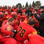 FOOTBALL COACH TONY ANNESE FIRES UP HIS TEAM FOLLOWING THE BULLDOGS' 25-3 NCAA QUARTERFINAL PLAYOFF WIN OVER NORTHWEST MISSOURI STATE.