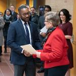 LINCOLN GIBBS, DEAN OF HEALTH PROFESSIONS, WAS INDUCTED INTO THE FULBRIGHT SCHOLARS PROGRAM DURING THE FESTIVITIES.