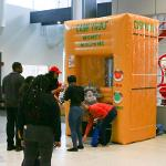 STUDENTS ENTERED THEIR CHANCES TO WIN CASH FROM THE MONEY MACHINE.
