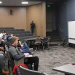 CHILDRESS SPOKE TO SPORTS COMMUNICATION STUDENTS AND MEMBERS OF THE CAMPUS COMMUNITY.