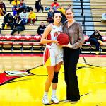SENIOR RILEY BLAIR WAS HONORED BY COACH KENDRA FAUSTIN FOR SCORING 1,000 CAREER POINTS.