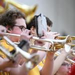 THE BULLDOG PEP BAND SHOWS ITS SCHOOL SPIRIT DURING BULLDOG BASKETBALL ACTION.
