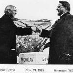 Peaceful handshake at Ohio-Michigan border; Governors and later U.S. Senators Ferris and Frank Willis, November 1915, Toledo  (source: Mich. Geol. and Biol. Survey Pub. 22 Series 18 Lansing, 1916)