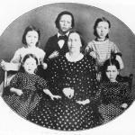 The family, 1863: <br /> Seated l-r, Olive, b. 1860, mother Stella, Mariette, b. 1858 <br />Standing l-r, Anna Eliza, b. 1856, Woodbridge, Sarah, b. 1854