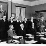 Smithsonian Institution Board of Regents, Ferris seated in center, Charles Lindbergh receiving Langley Medal for Aerodromics, December 8, 1927, Washington, D.C.  (source: U.S. National Museum, Washington, D.C. - negative #15866)