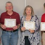 EMERITI ASSOCIATION PRESIDENT DOUG HANELINE (L) PRESENTED CERTIFICATES OF APPRECIATION TO OUTGOING BOARD MEMBERS BOB CARTER, BRENDA VASICEK AND SAYED HASHIMI.