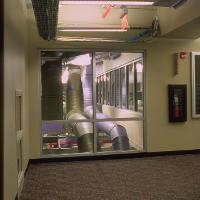 vestibule with window view to ductwork