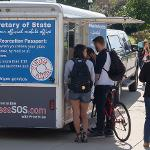 THE SECRETARY OF STATE'S MOBILE OFFICE VISITED CAMPUS FOR A VOTER REGISTRATION DRIVE.