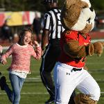 """HALFTIME ACTIVITIES INCLUDE """"CHASE THE BULLDOG"""" FUN FOR YOUNGSTERS."""