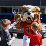 """BRUTUS SLAPS SOME """"HIGH PAWS"""" AT THE HOMECOMING PARADE."""
