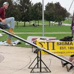"""SIGMA PI HELD A """"TEETER-TOTTER-A-THON"""" TO RAISE MONEY FOR CANCER RESEARCH."""