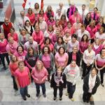 """STAFF MEMBERS HOUSED IN THE TIMME CENTER FOR STUDENT SERVICES HELD A """"PINK OUT"""" DAY FOR BREAST CANCER AWARENESS."""