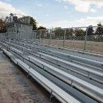 THE BLEACHERS ARE IN PLACE AT THE NEW VARSITY SOCCER FIELD.