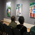 """SCENES FROM THE RECEPTION FOR THE """"SUMMERTIME"""" ART EXHIBIT."""