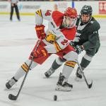 THE BULLDOGS AND SPARTANS PLAYED BEFORE A PACKED HOUSE AT THE EWIGLEBEN ICE ARENA.