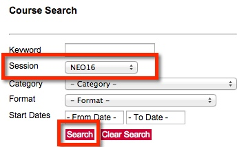 Screen shot of the Course Search box on the Staff Center registration site