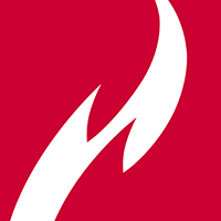 Ferris State University Logo: Red Box Flame