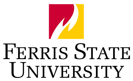 Ferris State University Logo: Box flame with black center stacked wordmark