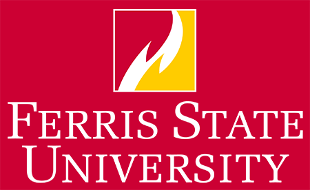 Ferris State University Logo: Box flame with white center stacked wordmark