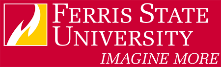 Ferris State University Logo: Box flame with white stacked wordmark and tagline