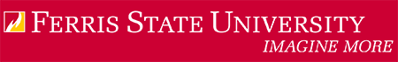 Ferris State University Logo: Box flame with white wordmark and tagline