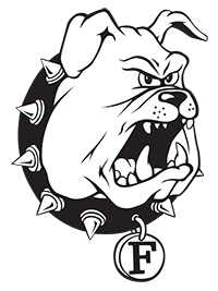 Ferris State University Logo: Black and white bulldog with black collar