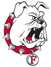 Ferris State University Logo: Black and white bulldog with red collar