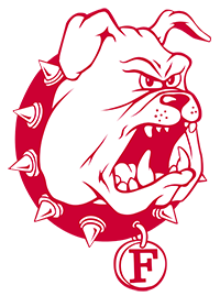 Ferris State University Logo: Red and white bulldog with red collar