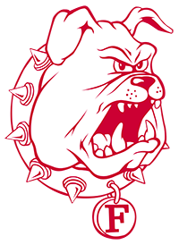 Ferris State University Logo: Red and white bulldog with white collar