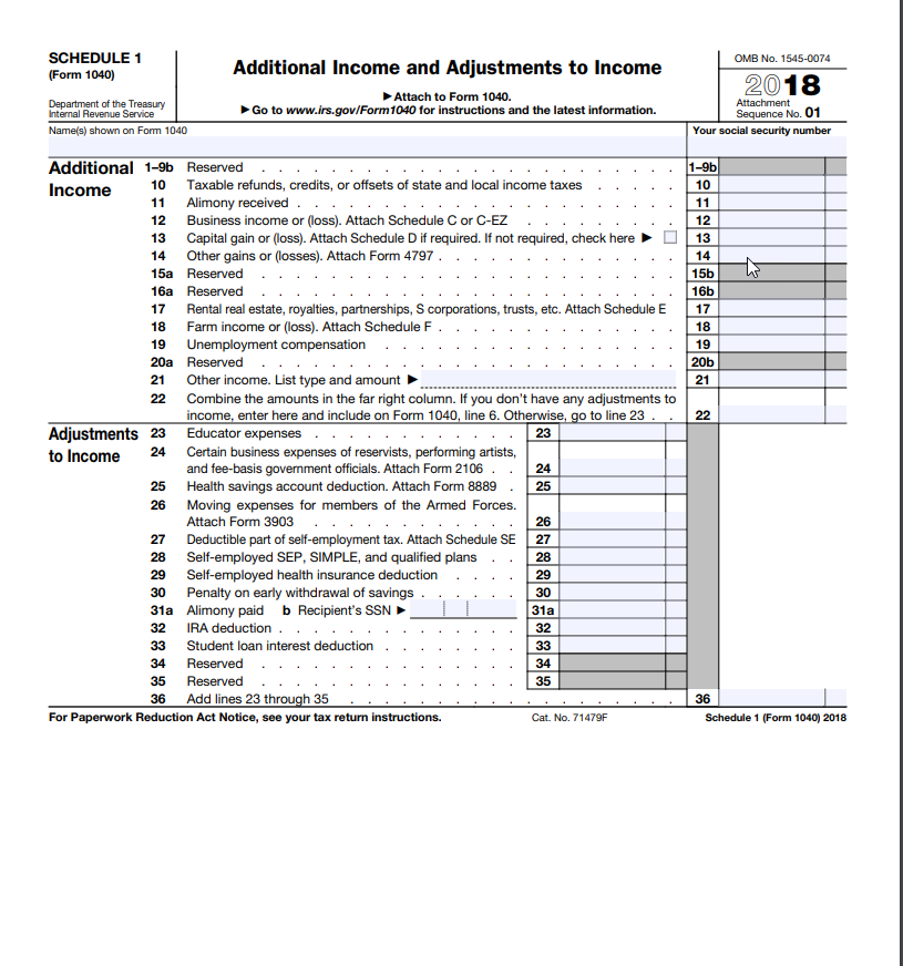 Form 1040 Schedule 1 Example